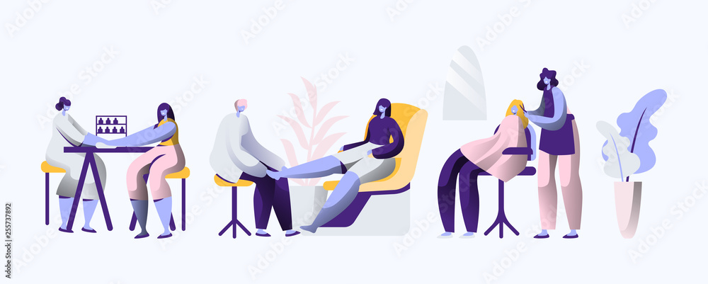 Beauty Luxury Salon. Professional Stylist make Fingernail and Hair Fashionable, Elegance and Beautiful for Woman. Service Fashion Haircutting and Manicure. Flat Cartoon Vector Illustration