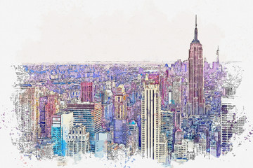Fototapeta Architektura Watercolor sketch or illustration of a beautiful view of the New York City with urban skyscrapers. Cityscape or urban skyline