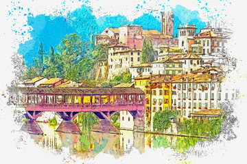 Panel Szklany Architektura Watercolor sketch or illustration of a beautiful view of the urban architecture and the Alpini Bridge in Bassano del Grappa in Italy
