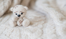 Knitted Beige Bear Sits On A P...