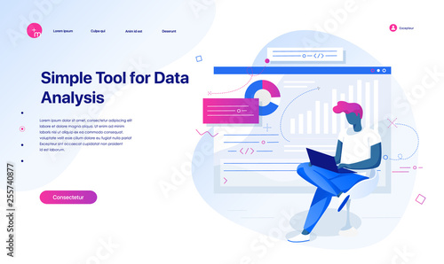 A young man analyzes data graphs. Data analysis and office situations. Landing page template. Vector illustration. Landing page concept.