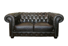 Dark Brown Old Leather Sofa Isolated On White Background