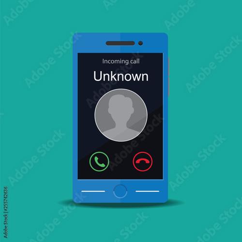 Fotografia, Obraz Unknown number calling vector flat design.