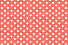 Classic Living Coral Background With Symmetrical White Polka Dots