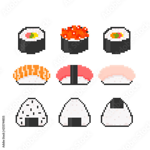 Various Tasty Sushi Pixel Art Hand Drawn Trendy