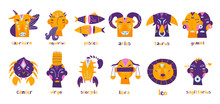 Zodiac Signs. Hand Drawn Trendy Illustration. Flat Design. Colored Vector Set. All Elements Are Isolated