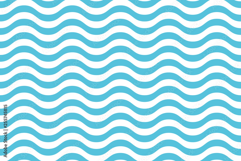 Fototapeta Wave pattern seamless abstract background. Stripes wave pattern white and blue colors for summer vector design.