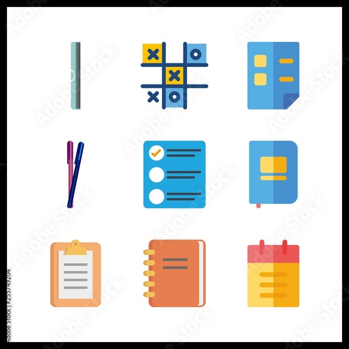 9 pencil icon  Vector illustration pencil set  notebook and ruller