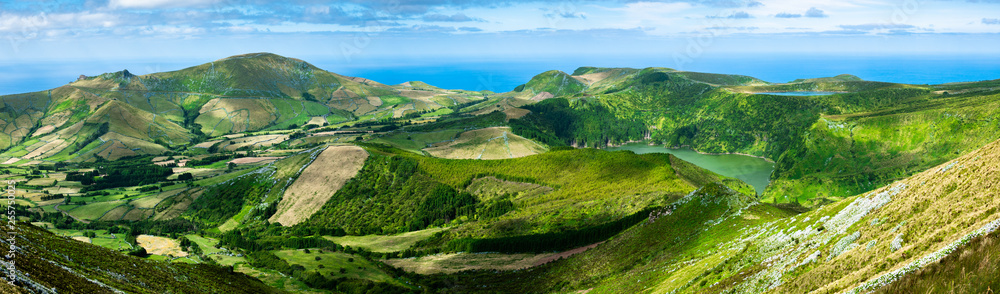 Fototapety, obrazy: Azores: Panoramic shot of the landscape of the island of Flores, the Azores, Portugal.