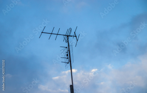 Fotografie, Tablou  Antenna analog on the mast for receiving a radio signal