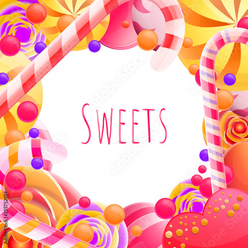 Fotografie, Obraz  bright colorful cartoon poster from a set of sweets, vector illustration