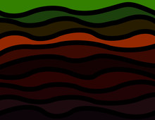 Abstract Vector Illustration Multicolored Waves Separated By Black Border, Background