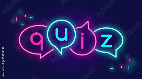 Fotografie, Obraz  Quiz speech bubbles banner for social networks in neon light style on dark backg