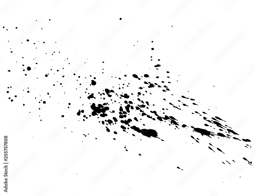 Fototapeta Abstract black ink splash watercolor, Splash watercolor spray texture isolated on white background. Vector illustration.