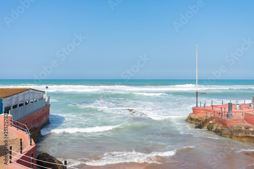 Fotografie, Obraz  Inlet along the Atlantic Ocean in Casablanca Morocco with Waves