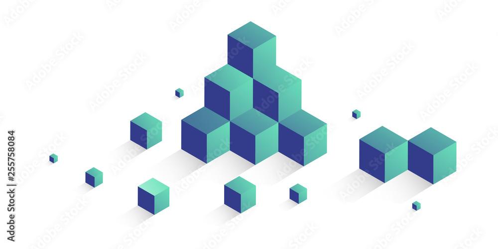 Fototapeta cubi, costruzioni, concetto, 3d, pixel, edilizia,