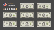 US Dollar Bills. American Money Banknotes And Coins. Currency Vector Set. Stylized Drawing Of Bills. Flat Vector Illustration.