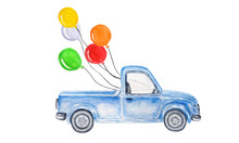 Watercolor Blue Car With Balls