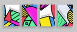 Minimalny projekt okładek. Szablony plakatów z abstrakcyjnymi kształtami geometrycznymi, elementy płaskiej konstrukcji w stylu memphis z lat 80. Sztuka retro na okładki a4, banery, ulotki i plakaty.