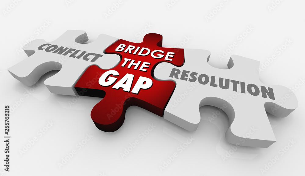 Fototapeta Conflict Resolution Bridge Gap Puzzle 3d Illustration