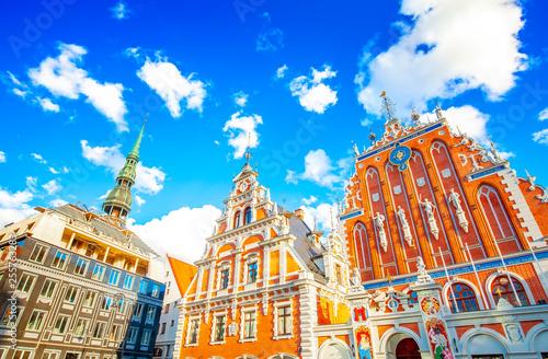 Fotografie, Obraz Riga Town Hall Square and House of Blackheads, Latvia