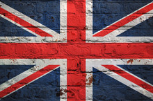 British Flag On Brick Wall Background.