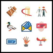 9 Toy Icon. Vector Illustration Toy Set. Duck And Vanes Icons For Toy Works