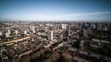 Aerial View Of London, East London, Stratford, Bromley, Hackney, Poplar, Bow, Barking, Day, United Kingdom