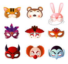 Set Of Carnival, Halloween And Animals Masks Isolated On White Background
