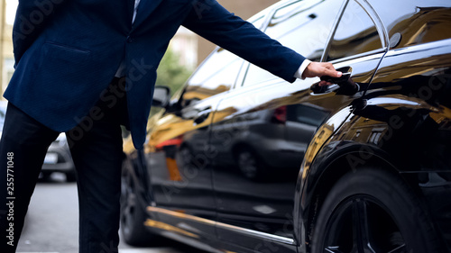 Obraz Personal driver opening backseat door in car for successful businessman, service - fototapety do salonu