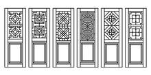 Traditional Asian Window And Door Pattern, Vector Set