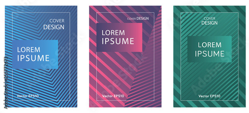 Fototapety, obrazy: Set of booklets with geometric lines and gradient.Minimal design. EPS Vector 10