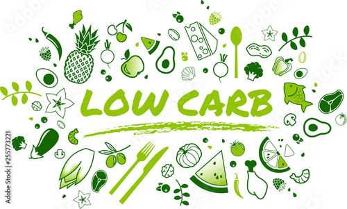 Photo Low carb diet concept: healthy and well-balanced food items - vector illustratio