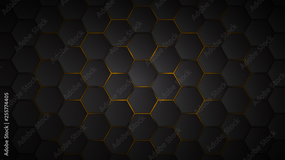 Fototapety, obrazy: Abstract background of black hexagon tiles with yellow gaps between them