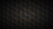Abstract Background Of Black Hexagon Tiles With Yellow Gaps Between Them