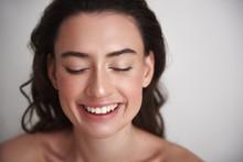 Close Up Portrait Happy Brunette Beautiful Woman