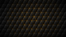 Abstract Background Of Black Triangle Tiles With Yellow Gaps Between Them