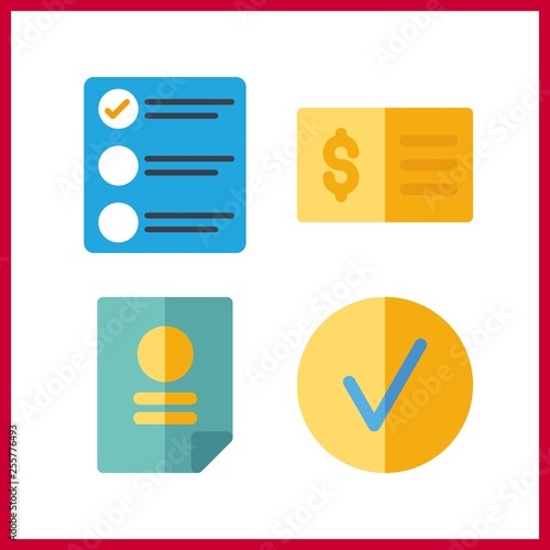 4 form icon  Vector illustration form set  agreement and list icons