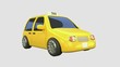 3d rendering yellow taxi motion cartoon style city transportation business concept