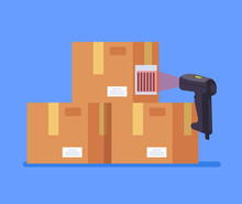 Barcode Scanner Scanning Box Label Information Data. Cargo Delivery Sale Concept. Vector Flat Cartoon Graphic Design Isolated Icon Illustration