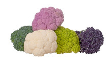 Colourful Vegetables, Isolated On White. Assorted Raw Cauliflower, Broccoli And Purple Sprouting Florets. Healthy Assortment.