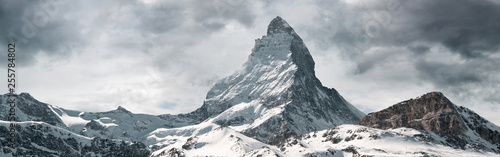 Canvas Print panoramic view to the majestic Matterhorn mountain, Valais, Switzerland