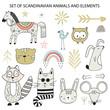 Big set of diferent cartoon animals. Cute handdrawn kids clip art collection. Vector illustration
