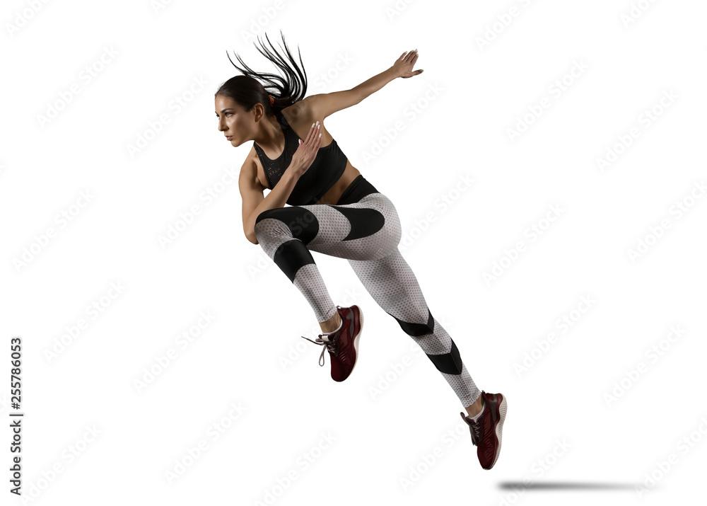 Fototapety, obrazy: Woman sprinter leaving starting