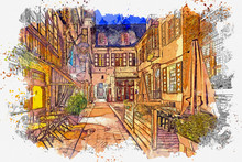 Watercolor Sketch Or Illustration Of A Beautiful View Of A Traditional European Street In Bruges In Belgium In The Evening Or At Night