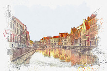 Watercolor Sketch Or Illustration Of A Beautiful View Of The Traditional European Urban Architecture In Bruges In Belgium