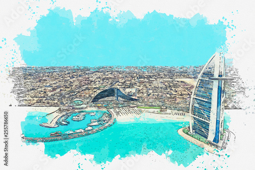 Fotografie, Obraz  Watercolor sketch or illustration of a beautiful view of modern architecture in Dubai in the United Arab Emirates