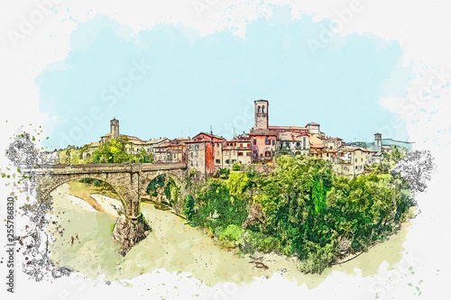 Watercolor sketch or illustration of a beautiful view of the urban architecture and the Devil's bridge in Cividale del Friuli in Italy