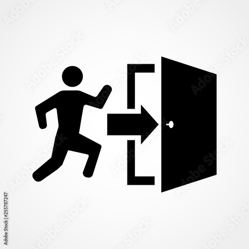 Emergency exit, escape route sign. Vector illustration Wall mural