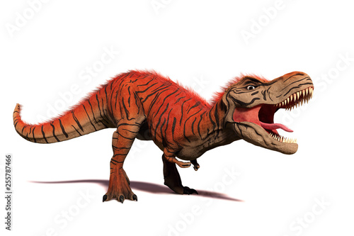 Obraz na plátně  Tyrannosaurus rex, T-rex dinosaur from the Jurassic period (3d illustration isol